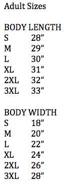 Adult sizes